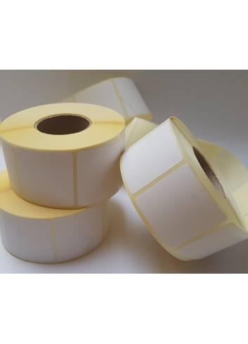 Etykieta termotransferowa papierowa w rozmiarze 50 na 14 mm.